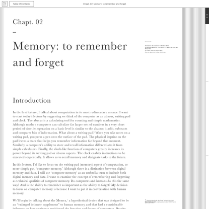 Poetic Computation. Ch 2: Memory: to remember and forget