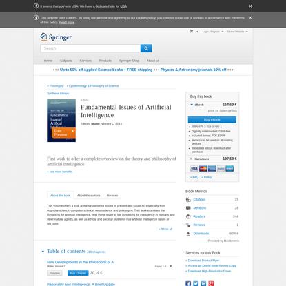 Fundamental Issues of Artificial Intelligence | Vincent C. Müller | Springer