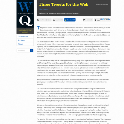Three Tweets for the Web