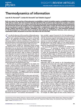 Thermodynamics of information