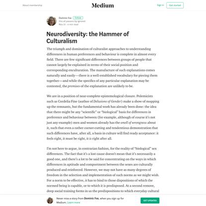 Neurodiversity: the Hammer of Culturalism - Dominic Fox - Medium