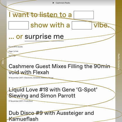 Listen back to shows from the Cashmere Radio archive