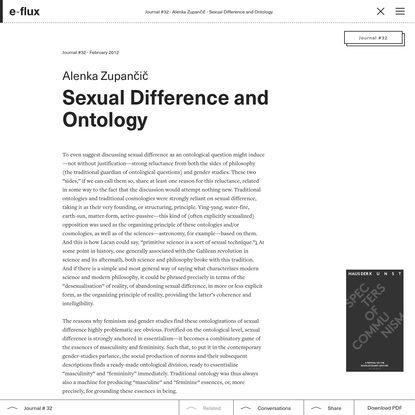 Sexual Difference and Ontology