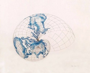 Isometric Systems in Isotropic Space—Map Projections: The Snail, 1979 | Agnes Denes