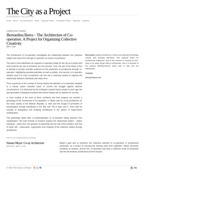 The City as a Project   Bernardina Borra - The Architecture of Co-operation. A Project for Organizing Collective Creativity