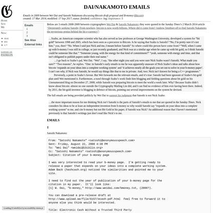 Dai/Nakamoto emails