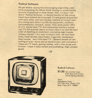 Stewart Brand's copy on Radical Software in the Whole Earth Catalog