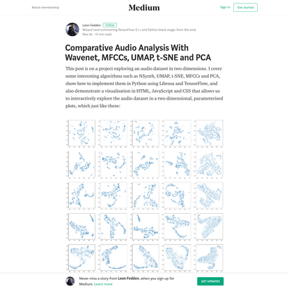 Comparative Audio Analysis With Wavenet, MFCCs, UMAP, t-SNE and PCA