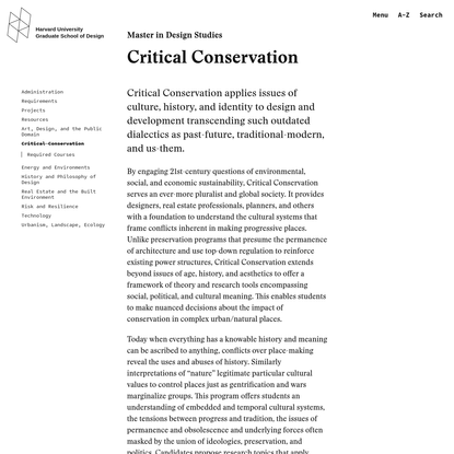 Critical Conservation