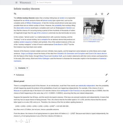 Infinite monkey theorem - Wikipedia