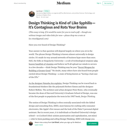 Design Thinking is Kind of Like Syphilis - It's Contagious and Rots Your Brains
