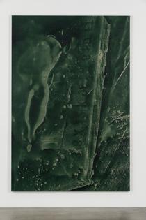 Daniel Lefcourt Cast (Displace Deformer), 2014-2015 PBK31 (Perylene Green-Black) pigment and urethane binder on canvas 112 x 76 inches