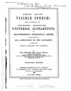 Visible Speech, Alexander Melville Bell