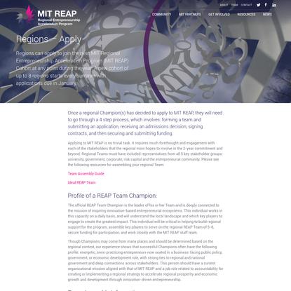 Regions - Apply - MIT Reap