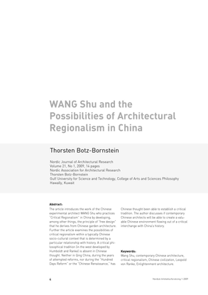 Wang Shu and the Possibilities of Architectural Regionalism in China