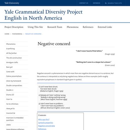 Negative concord   Yale Grammatical Diversity Project: English in North America