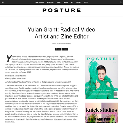 Yulan Grant: Radical Video Artist and Zine Editor