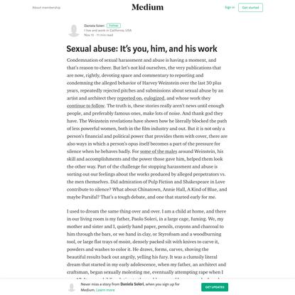 Sexual abuse: It's you, him, and his work - Daniela Soleri - Medium