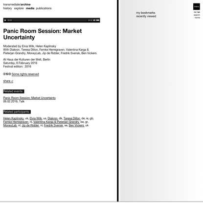 Panic Room Session: Market Uncertainty | transmediale