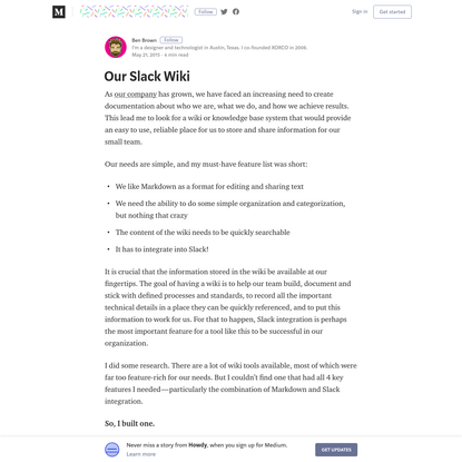 Our Slack Wiki - Howdy