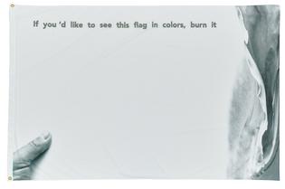 Ahmet Öğüt. If You'd Like This Flag in Colors, Burn It (In memory of Marinus Boezem), 2017