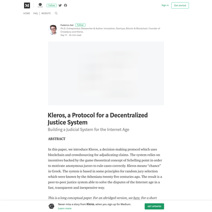 Kleros, a Protocol for a Decentralized Justice System