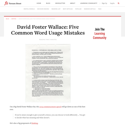 David Foster Wallace: Five Common Word Usage Mistakes