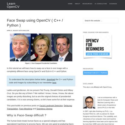 Face Swap using OpenCV ( C++ / Python )