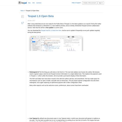 Texpad · News · Texpad 1.8 Open Beta