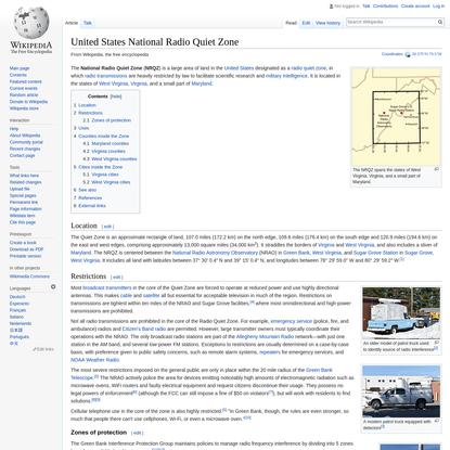 United States National Radio Quiet Zone - Wikipedia