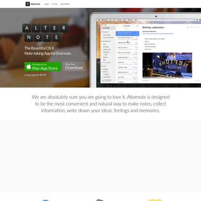 Alternote - note-taking app for Mac. Alternative Evernote client for Mac with Markdown support