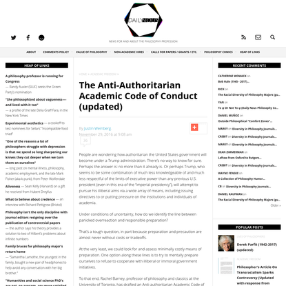The Anti-Authoritarian Academic Code of Conduct (updated) - Daily Nous