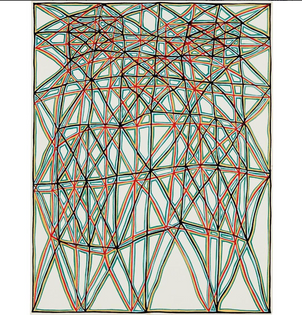 James Siena; Shifted Lattice with Alternating Coffers, 2006, gouache on board, 11 x 8 3/8 inches