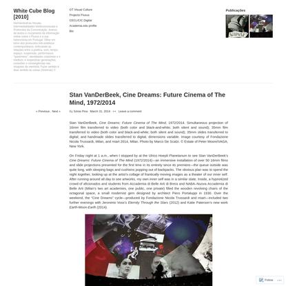 Stan VanDerBeek, Cine Dreams: Future Cinema of The Mind, 1972/2014