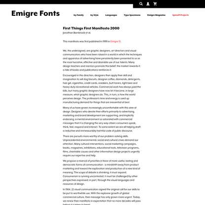 Emigre Essays First Things First Manifesto 2000