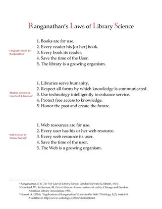 Ranganathan's Laws of Library Science
