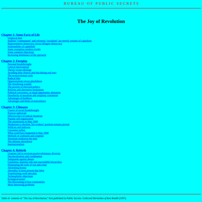 The Joy of Revolution (contents)