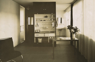Lilly Reich, Single-Person Apartment in The Dwelling of Our Time, German Building Exhibition, Berlin, Germany (Two perspectives, cooking cupboard with side cabinet) 1931