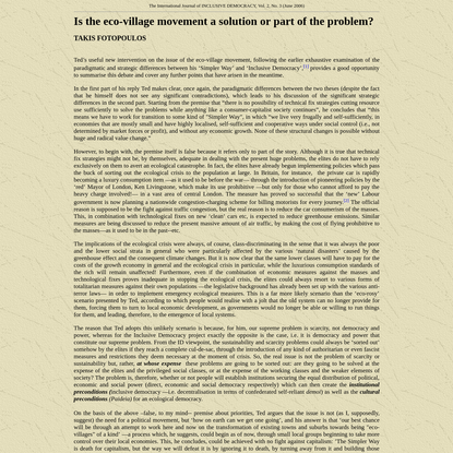 Is the eco-village movement a solution or part of the problem? - TAKIS FOTOPOULOS The International Journal of INCLUSIVE DEMOCRACY, Vol. 2, No. 3 (June 2006)
