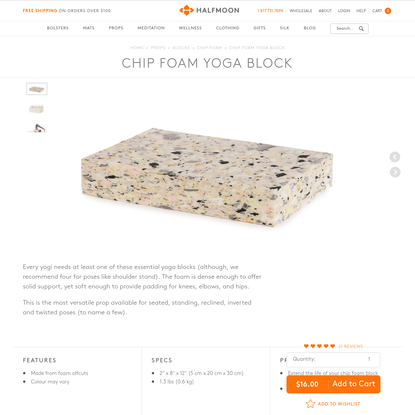Chip Foam Yoga Block - shophalfmoon.com