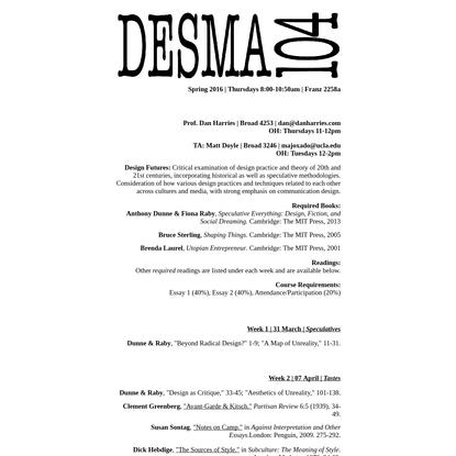 | UCLA | DESMA 104 | Design Futures | S 16 |
