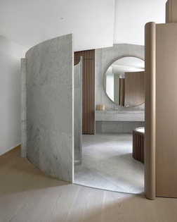 Inspiring Residence in #Paris using curved #walls and separations to create a room inside a room #interiordesign #architecture #bathroom #interior #design