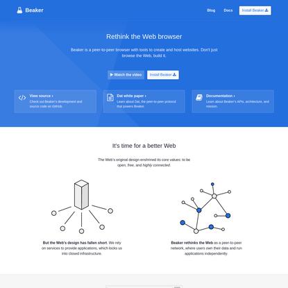 Beaker   Peer-to-peer Web browser. No blockchain required.