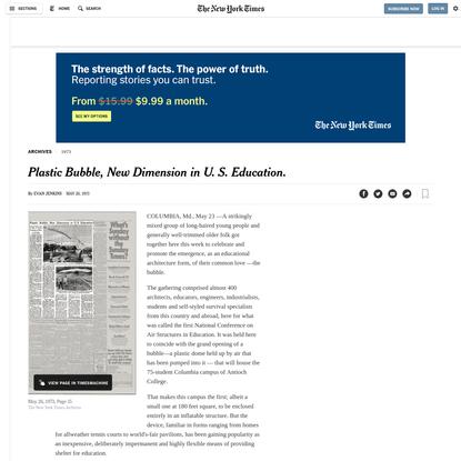 Plastic Bubble, New Dimension in U. S. Education.