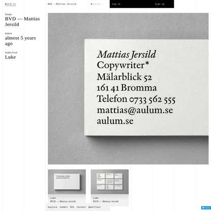 BVD - Mattias Jersild / Bench.li
