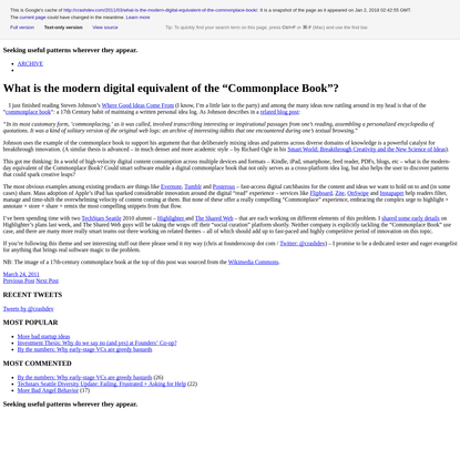 """What is the modern digital equivalent of the """"Commonplace Book""""? 