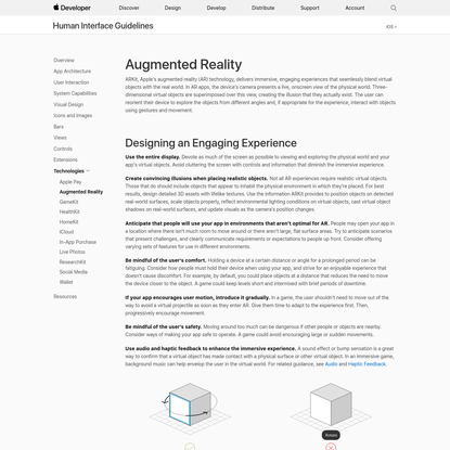 Augmented Reality - Technologies - iOS Human Interface Guidelines