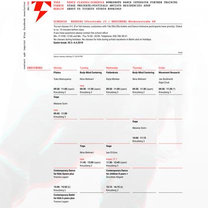 Schedule | Tanzfabrik