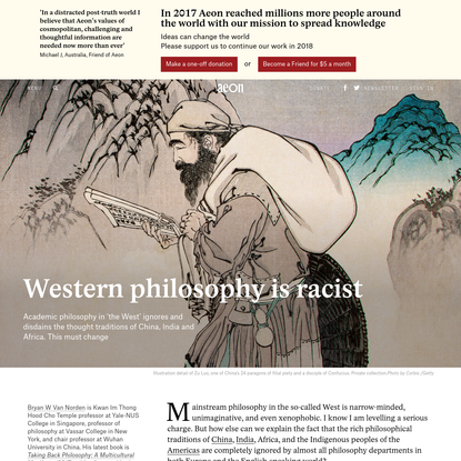 Why the Western philosophical canon is xenophobic and racist - Bryan W Van Norden | Aeon Essays