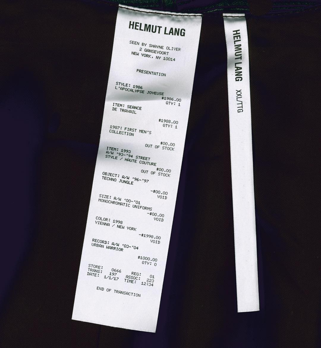 Garment labels Helmut Lang seen by Shayne Oliver Shop now at WWW.HELMUTLANG.COM